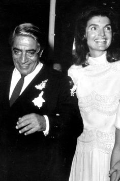 Aristotle Onasiss and Jackie Kennedy, her second marriage...for money (reference quote).  Wealthy Greek magnate.