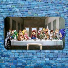 Funny Nintendo Characters Last Supper Famous Cute iPhone Case Cell Phone Cover  Mario Luigi Yoshi Sonic the Hedgehog