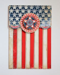 Wall hanging made from wood and paper. #papercrafts #americana