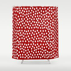 #White #Polka #Dots On Red Background #Shower #Curtain $68.00