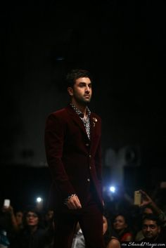 Ranbir Kapoor at Festive Lakme Fashion Week 2015 Collection.  Designer Manish Malhotra creation – The Gentlemen's Club was introduced on the first day by actor Ranbir Kapoor as a show-stopper.