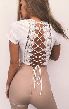#spring #outfits Back Details 'Damsel' Top // White Laced Up Back Top + Blush Skinny Pants