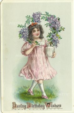Antique Postcard  Girl with Purple Flowers  by @postcardsintheattic #bmecountdown #bmecountdown , $8.95
