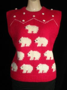 Vintage Bright Pink Mohair Wool Polar Bear Sweater Vest By The Eagles Eye $50