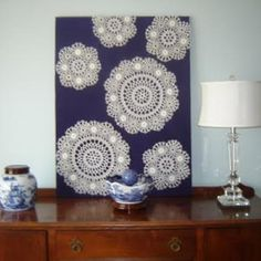How to Use Doilies as Wall Art {wall decor} (use inverse of chinese cutouts on…
