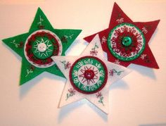felt Christmas stars...love the embroidery