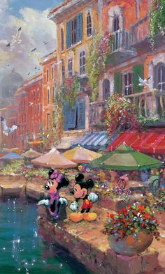 Minnie Mouse and Mickey Mouse Walt Disney Fine Art James Coleman Signed Limited Edition of 195 on Canvas