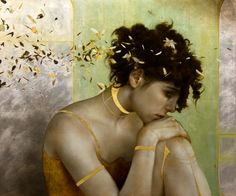 """""""A Projection of Engagement"""" - Brad Kunkle {contemporary artist figurative realism female head leaves woman face portrait profile gold-leaf painting} Sorrow!!"""