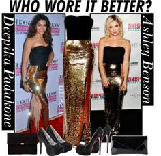 """""""Who Wore Better Dolce & Gabbana Gold Gown? Ashley Benson Or Deepika Padukone?"""" by lux-smile on Polyvore"""