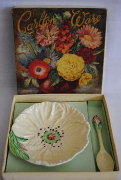 Carlton Ware yellow poppy jam dish and spoon set in original box