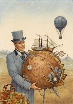 """Saatchi Online Artist: Lev Kaplan; Watercolor, 2013, Painting """"Illustration for Jules Vernes in 80 days around the world"""""""