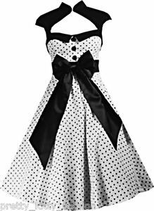 5226 ROCKABILLY 50s WHITE POLKA DOT VINTAGE PIN UP SWING PROM DRESS 8-22 *FREE*