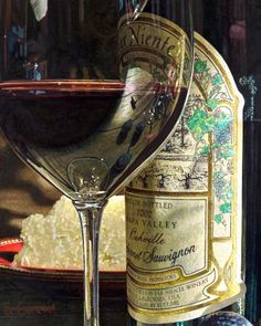 """This is a hyperrealistic wine art watercolor still life painting by Eric Christensen titled """"The Study""""."""