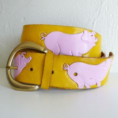 So wish this hadn't sold. It is adorable. Vintage Hand Tooled and Painted Pig Belt by junkyardgarden on Etsy