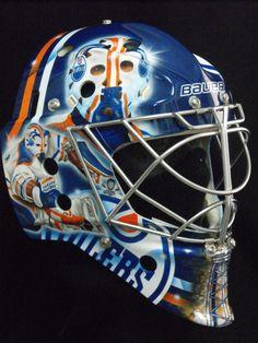 Yet another tribute: Yann Danis' Grant Fuhr Mask Hockey Goalie Gear, Hockey Teams, Ice Hockey, Football Helmets, Hockey Stuff, Nhl, Patrick Roy, Goalie Mask, St Louis Blues