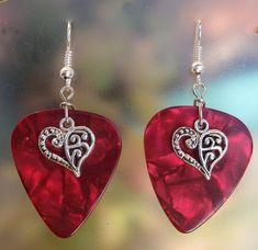 Victorian Heart Guitar Pick Earrings  by CraftyCutiesbyDesign, $6.00