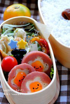 Cute Ham and Egg Kyaraben Bento Lunch by chi-mama
