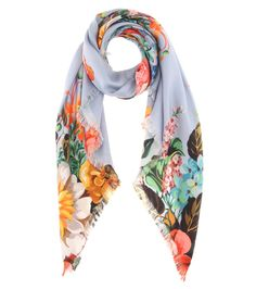 Gucci - Printed silk-twill scarf - Gucci uses beautiful florals to give this scarf its new-season energy. The lightweight silk-twill design is made in Italy with fraying edges for undone appeal. Style yours with a simple neutral blouse. seen @ www.mytheresa.com