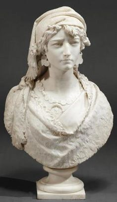 "Marble Sculpture ~ By Luigi Pagani (1893-1905) ~ Finely detaild  ""Bust of Gypsy"" ~ ORIGIN italy ~ Circa 1859-1905"