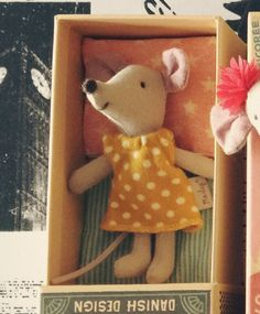 Maileg Little Sister Yellow Polka Mouse in Matchbox