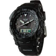 Don't be fooled by the classic analog look of the Casio Pro Trek Altimeter Watch; behind that pretty face lurks an altimeter, compass, barometer, Protrek, Amazing Watches, Fitness Activities, Casio G Shock, Easy Gifts, Casio Watch, Solar Power, Watches For Men, Fitness Products