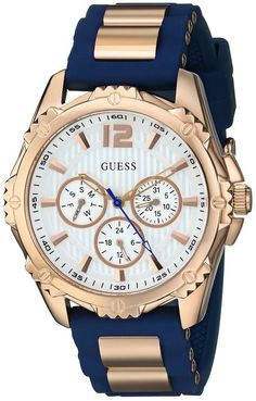 GUESS Women's U0325L8 Sporty Multi-Function Watch with Comfortable Navy Blue Silicone Strap & Rose Gold-Tone Interlinks