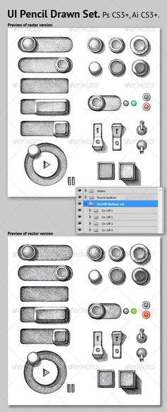 It's like a hybrid of Old School and New School. UI Pencil Drawn Set - GraphicRiver Item for Sale