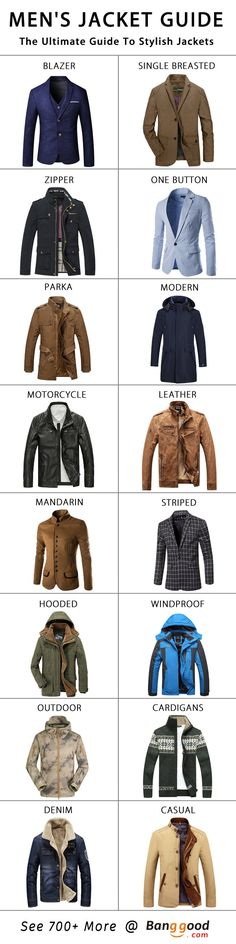 The Ultimate Guide to Men's Jackets. Click to Refresh Your Wardrobe. Dress Warm, Dress Hottie~