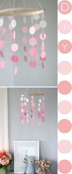 54 Ideas for painting easy diy mobiles Homemade Christmas Gifts, Christmas Diy, Paint Chip Mobile, Sunset Painting Easy, Diy Painting, Washi, Diy Ombre, Girl Room, Diy For Kids