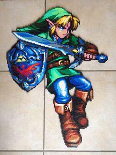 Décoration murale Link de Zelda (75 cm) en perles Hama