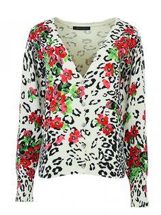 Stylish Vivid Floral Printing Long Sleeve Fashion Cardigan