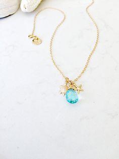 14k gold filled aquamarine quartz necklace,turtle,starfish,custom handstamped initial,aquamarine jewelry,beach wedding,bridesmaids gifts by LetItBeLove on Etsy