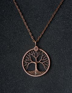 Tree of Life Pendant Necklace copper wire Family tree Round pendant Universal gift