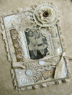 Vintage photo, fabric & lace collage..going to incorporate into my purse making