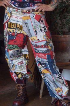Handmade Einzelstück Hose Alternativ Loose Fit, New York, Unisex, Punk Rock, Rockabilly, Trousers, Fashion, Alternative, Trouser Pants