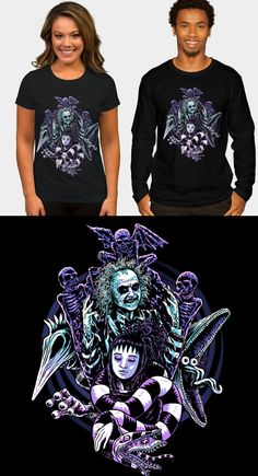 Beetlejuice T Shirt. A dark design featuring Betelgeuse and Lydia from the Tim Burton movie. Movie T Shirts, Beetlejuice, Tim Burton, Dark, Sweaters, Mens Tops, Movies, Design, Women