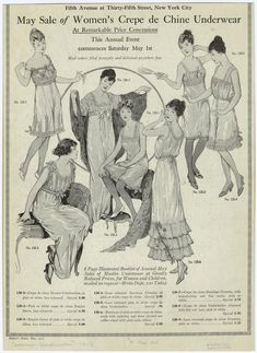 May 1915 ad for women's crepe de chine underwear. Item details at source link. | NYPL