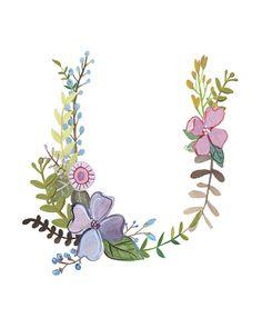 U Floral Letter Illustration Floral Typography by Makewells