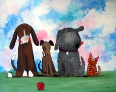 Dogs and Cats Nursery Art Print Cute 8x10 Childrens by andralynn