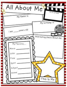 Start your year off right with this student information sheet with a hollywood/movies theme.  Great first morning activity, or get to know you activity.
