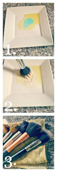 The best way to get your makeup brushes super clean! All you need is two ingredients. Olive oil dish soap. Get's all of the makeup, dirt, germs off of your makeup brushes. Great for deep cleaning cleaning your makeup brushes will help you not break out!