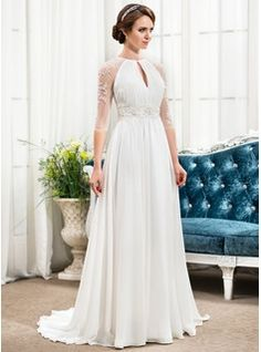 A-Line/Princess Scoop Neck Sweep Train Chiffon Tulle Wedding Dress With Ruffle Beading Sequins (002057489) - JJsHouse