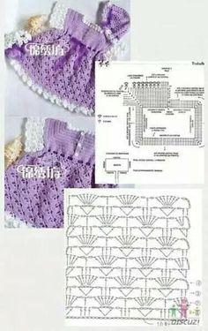 This Pin Was Discovered By Edi - Diy Crafts - Marecipe Crochet Baby Dress Pattern, Baby Dress Patterns, Crochet Fabric, Baby Girl Crochet, Crochet Baby Clothes, Crochet Diagram, Crochet For Kids, Crochet Patterns, Crochet Yoke