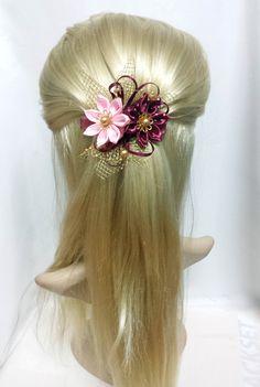 Spona do vlasů - francouzská Kanzashi hair clip svatební šperky - návrhář kus Taťána Mirza na DaWanda