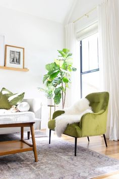 The Embrace chair has curved arms and back that fit you in all the right places while its deep, plush seats keep you fully supported and relaxed. Photo by @collected_eclectic. #LivingRoom #LivingRoomFurniture #LoungeChair #InteriorInspo #InteriorDesign Article Furniture, Green Chair, Velvet Lounge Chair, Chair, Furniture, Interior Inspo, Room, Upholstery, Living Room Furniture