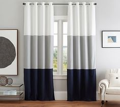 "Color Block Drape with Polished Nickel Grommet, Set of 2, 108"", White/Smoke/Navy"