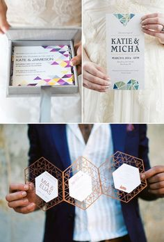 7 Top Wedding Invitation Trends for 2016 - Modern Geometric