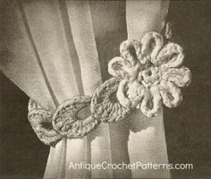 Crochet Flowers Design Crochet Home Decor Pattern - 'Flower' Curtain Tie Back Crochet Flower Patterns, Crochet Designs, Crochet Flowers, Pattern Flower, Crochet Home Decor, Diy Crochet, Crochet Crafts, Vintage Crochet, Crochet Ideas