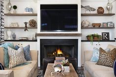 10 Relaxing Clever Hacks: Livingroom Remodel Sofa Tables living room remodel with fireplace tvs.Living Room Remodel With Fireplace Floor Plans living room remodel before and after house tours.Living Room Remodel With Fireplace Floor Plans. Painted Brick Fireplaces, Coastal Living Rooms, Coastal Bedrooms, Nautical Bedroom, Transitional Living Rooms, Living Room Remodel, Living Room With Fireplace, Couch, Luxury Interior Design