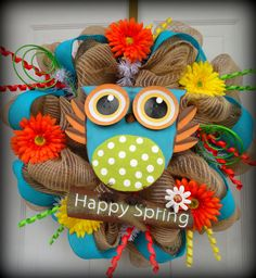 ONLY 3 LEFT  Spring Deco Mesh Wreath  Burlap by SparkleWithStyle, $85.00
